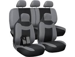 oxgord car seat cover poly cloth two tone with front low bucket and 50 50 or 60 40 rear split bench universal fit for cars truck suv