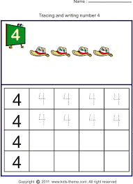 Writing Number 4 Worksheets