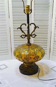 vintage amber glass table lamp aged brass base moroccan
