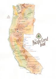 pacific crest trail map  archival print