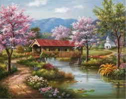 sung kim covered bridge in spring