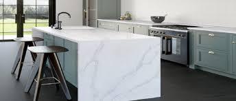 kitchen worktops and island in silestone calacatta gold quartz