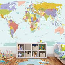 world map wall mural sticker