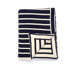 darzzi navy natural striped throw blanket x
