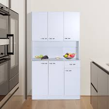 Image Sideboard Buffet Ebay Details About Homcom Kitchen Pantry Cupboard Wooden Storage Cabinet Organizer Shelf White
