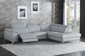 home elegance he 8256gy 2 pc cinque gray top grain leather sectional sofa with power
