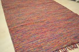 cotton patterned rug rainbow chunky weave