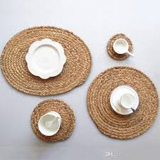11cm 18cm 36cm round woven placemats for dining table heat resistant wipeable placemat non slip washable kitchen place mats canada 2019 from home fashion