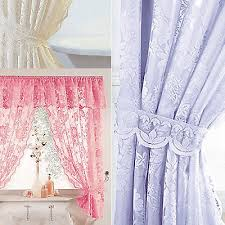 details about windsor lace shower curtains liner tie backs white cream lilac pink blue