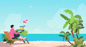 サンベッド ビジネスマンのラップトップ ビーチ夏休暇熱帯島フラット ベクター
