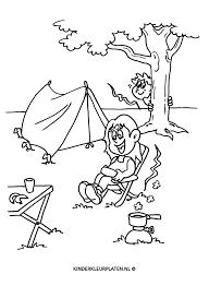 Kleurplaat Camping Vakantie Tent Vakantie