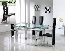 ... Extendable Glass Dining Table And Chairs 4361 Brilliant Extendable  Glass Dining Table Set ...