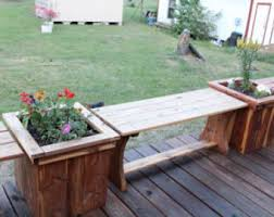 patio table flower pots. flower planters and bench, patio furniture, deck planter, vegetable table pots