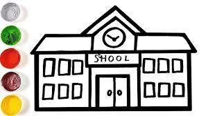 Trường học vẽ đơn giản cho trẻ em - cách vẽ trường học và các trang tô màu  cho trẻ em - YouTube
