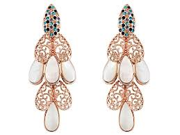 chandelier earrings mother of pearl swarovski element rose gold over bronze