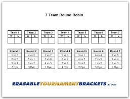 7 Team Round Robin Tournament Bracket Erasabletournamentbrackets Com