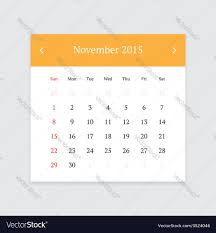 Calendar Page For November 2015 Royalty Free Vector Image