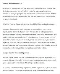 Resume Objective For Teacher Resume Objectives For Teachers Teaching ...