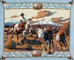 horse pillow panel | Cattle Drive Cowboy Cotton Fabric Panel by ... & horse pillow panel | Cattle Drive Cowboy Cotton Fabric Panel by Marshall  Dry Goods | quilts | Pinterest | Fabric panels, Fabrics and Craft Adamdwight.com