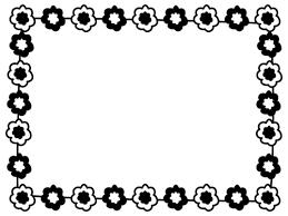 花のフレーム枠の白黒イラスト かわいい無料の白黒イラスト モノぽっと