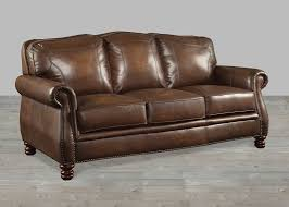 brown leather sofa with nailheads