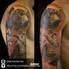 фото татуировки медведь в стиле реализм славянский татуировки на