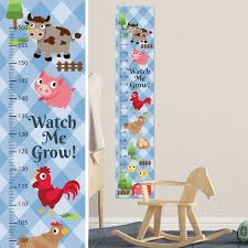Cute Farm Animals Growth Chart Wall Decal Kids Room Growth Chart Wall Sticker Height Chart Wall Decal Personalise With Name And Birthday