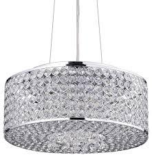 corona 4 light chrome round beaded drum crystal chandelier pendant