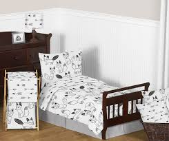 fox black and white toddler bedding collection enlarge