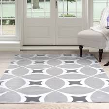 Somerset Home Geometric Area Rug, Grey and White