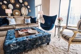navy blue living room. Eclectic Navy Blue Living Room With Mirror Collage