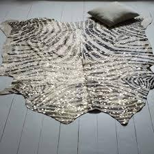 metallic zebra cowhide rug
