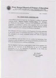 Has No Objection Amazing No Objection Certificate Raiganj Teachers Training College