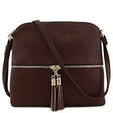 Tassel Accent Medium Crossbody Bag (Coffee)