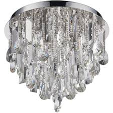 flush ceiling mount light chrome crystal shade round vintage bulb pendant rose