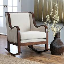 belham living baylor rocking chair rich espresso contrasts beautifully with contemporary ivory microfiber to create the transitional wooden rocking chair cushion b60 with