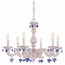 6 lights antique white chandelier dd w crystal drops