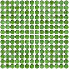 Penny Round Green Iridescent Glass Tile Grid