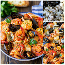 This seafood pasta is a mix of shrimp ...