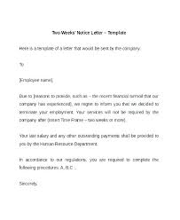 One Week Notice Resignation Letter Two One Week Notice Template 4 Resignation Letter Format