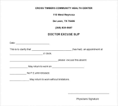Doctors Excuse Note Template For Work Absence Doctor
