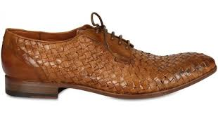 silvano sassetti woven kangaroo leather lace up shoes in brown for men lyst
