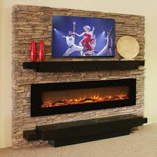 oakland 72 inch log linear wall mounted electric fireplace