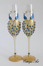 Peacock Wedding Hand Painted Wedding Glasses Champagne Flutes Hand Painted Wedding Glasses