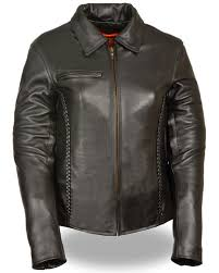 zoomed image milwaukee leather women s shirt collar braided leather jacket black
