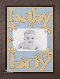 new baby boy gift wooden frame brown wood blue zoom