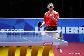 game against joao geraldo of portugal during the fourth round of men s group matches at 2018 world team table tennis championships in halmstad sweden
