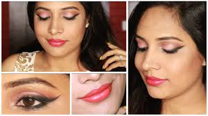 spring summer peach n pink glowy makeup for indian tan skin tone you