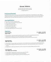 Bartender Resume Example Interesting Bartenders Resume PUKY Bartending Resumes Examples Bartender Resume