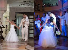 bride and groom wedding reception entrance and first dance at destination wedding in cancun mexico